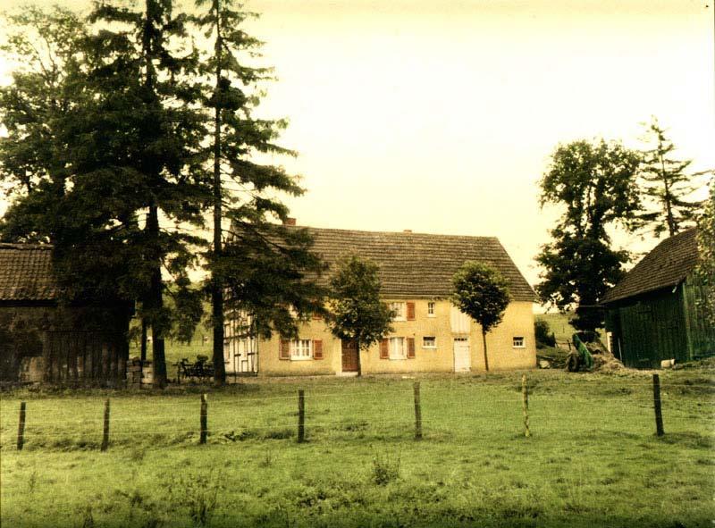Schwarz-Weiß-Bild mit Dorfansicht